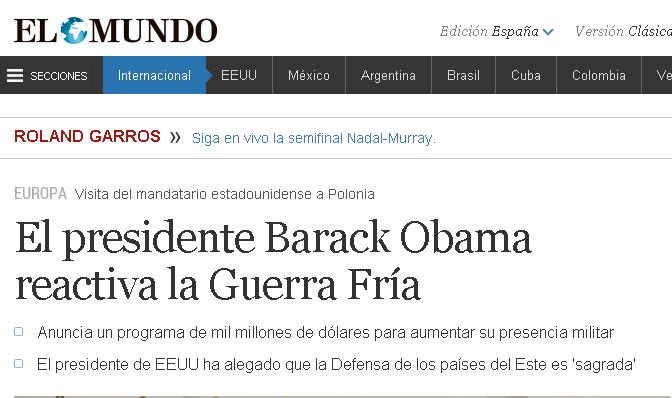 El presidente Barack Obama reactiva la Guerra Fría