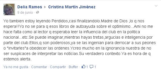 Opiniones Perdidos Cristina Martín Jiménez en facebook - Delia Ramos