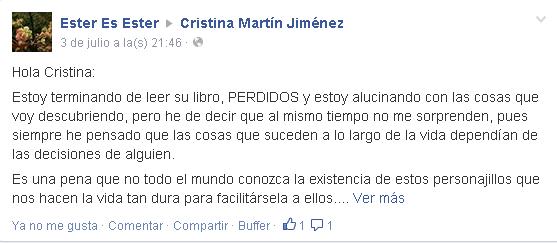 Opiniones Perdidos Cristina Martín Jiménez en facebook - Ester Es Ester