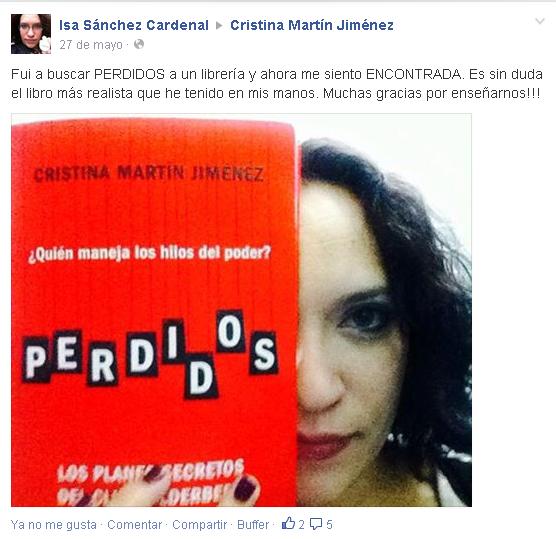Opiniones Perdidos Cristina Martín Jiménez en facebook - Isa Sánchez Correal