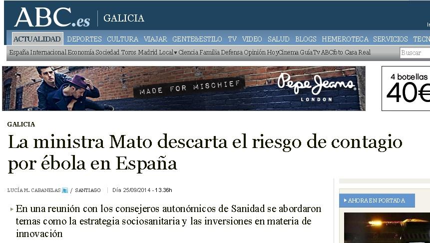 Ana Mato descarta el riesgo de contagio por ébola en España