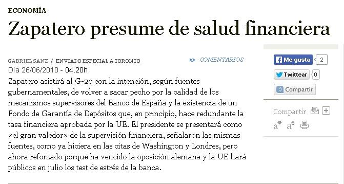 test de estres bancos españoles - Zapatero presume de salud financiera