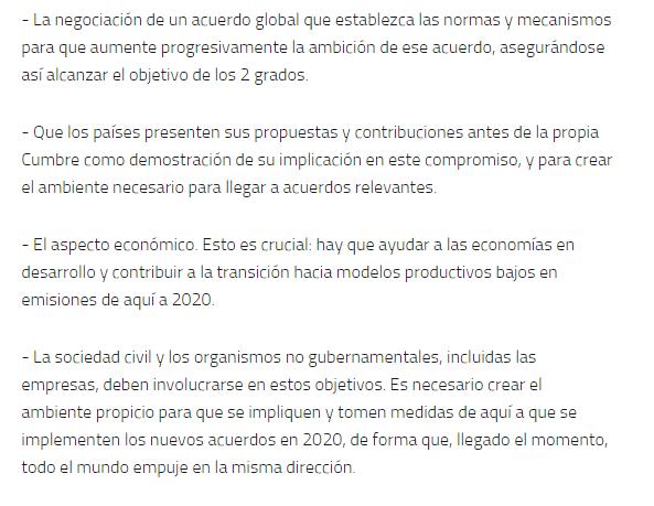 objetivos Cumbre del Clima de París
